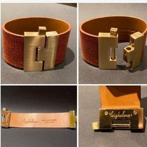 """LEIGHELENA"" Genuine Lizard Jigsaw Cuff Bracelet"